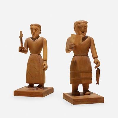 FOLK ART, Santos figures from Textiles & Objects, pair | Wright20.com