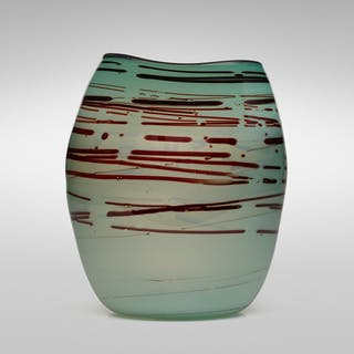 DALE CHIHULY, Early Teal Basket with Oxblood Spots   Wright20.com