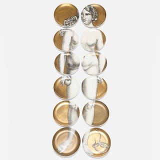 PIERO FORNASETTI, Eva plates, set of twelve | Wright20.com