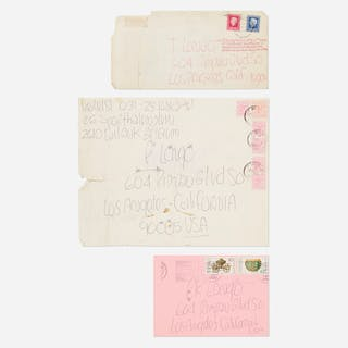 JAMES LEE BYARS, collection of three envelopes mailed to Tommy Longo