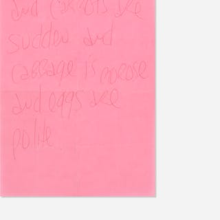 JAMES LEE BYARS, letter on pink paper | Wright20.com