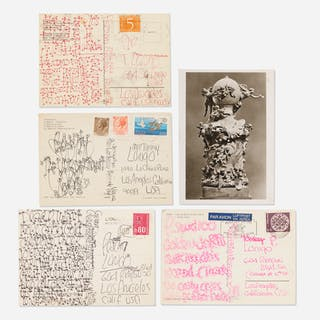JAMES LEE BYARS, collection of five postcards mailed to Tommy Longo