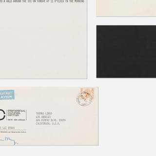 JAMES LEE BYARS, collection of three announcements and envelope | Wright20.com
