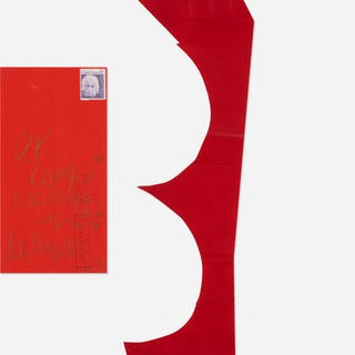 JAMES LEE BYARS, red paper cutout mailed to Tommy Longo | Wright20.com